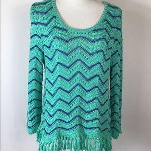 RUBY RD. XL Green Blue Fringe Sweater Long Sleeve